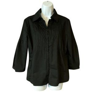Elie Tahari Black Cotton Blouse